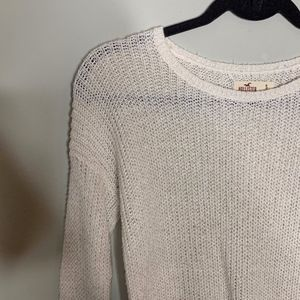 Hollister Cream Gold Thread Knit Sweater